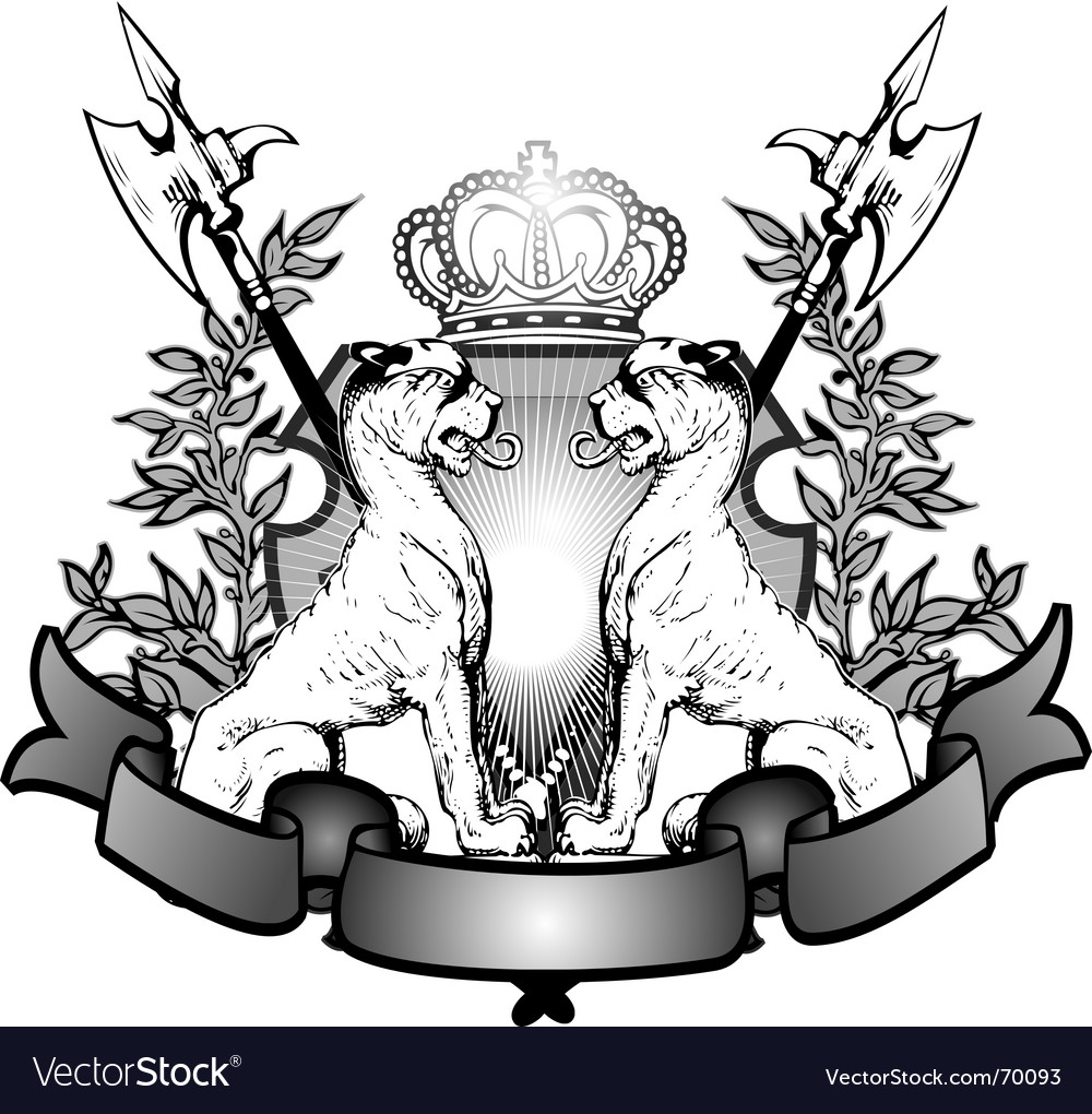 Heraldry lions vector | Price: 1 Credit (USD $1)