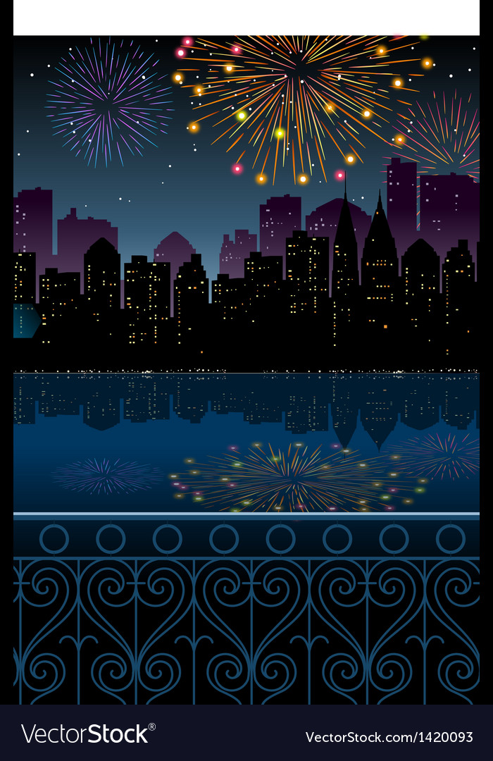 Night cityscape fireworks vector | Price: 1 Credit (USD $1)