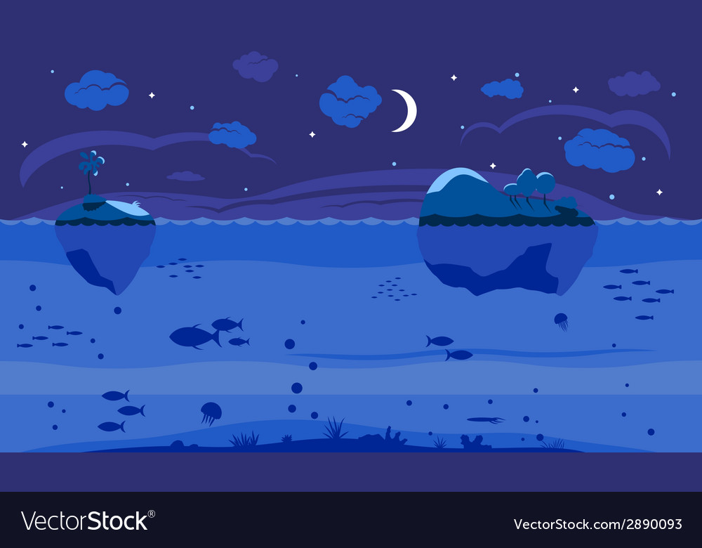Night sea game background vector | Price: 1 Credit (USD $1)