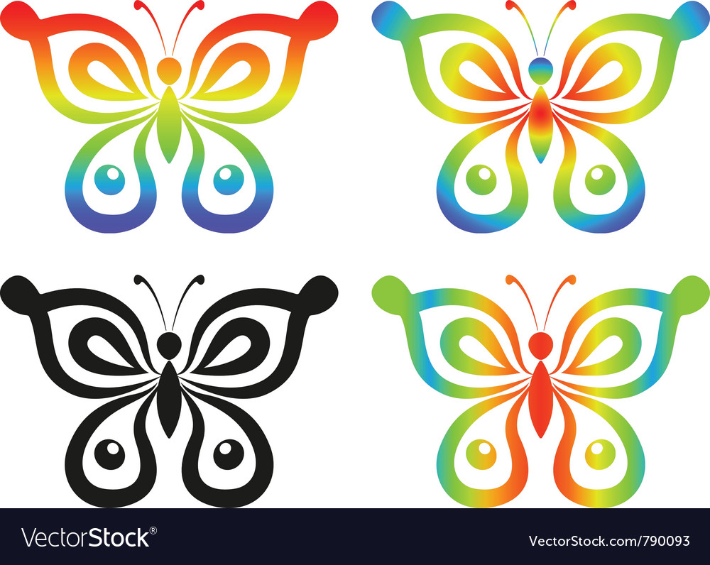Set abstract butterflies vector | Price: 1 Credit (USD $1)
