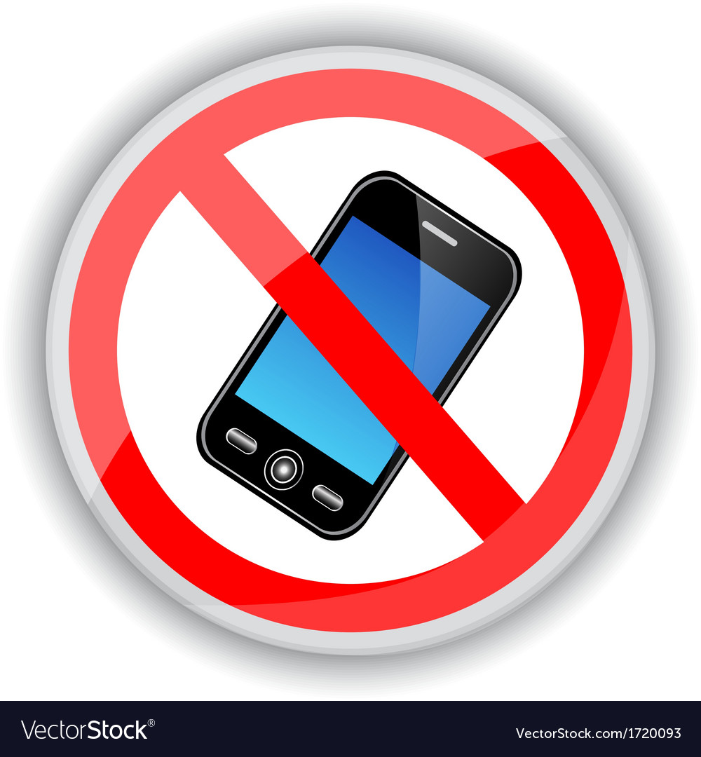 Sign banning cell phones vector | Price: 1 Credit (USD $1)