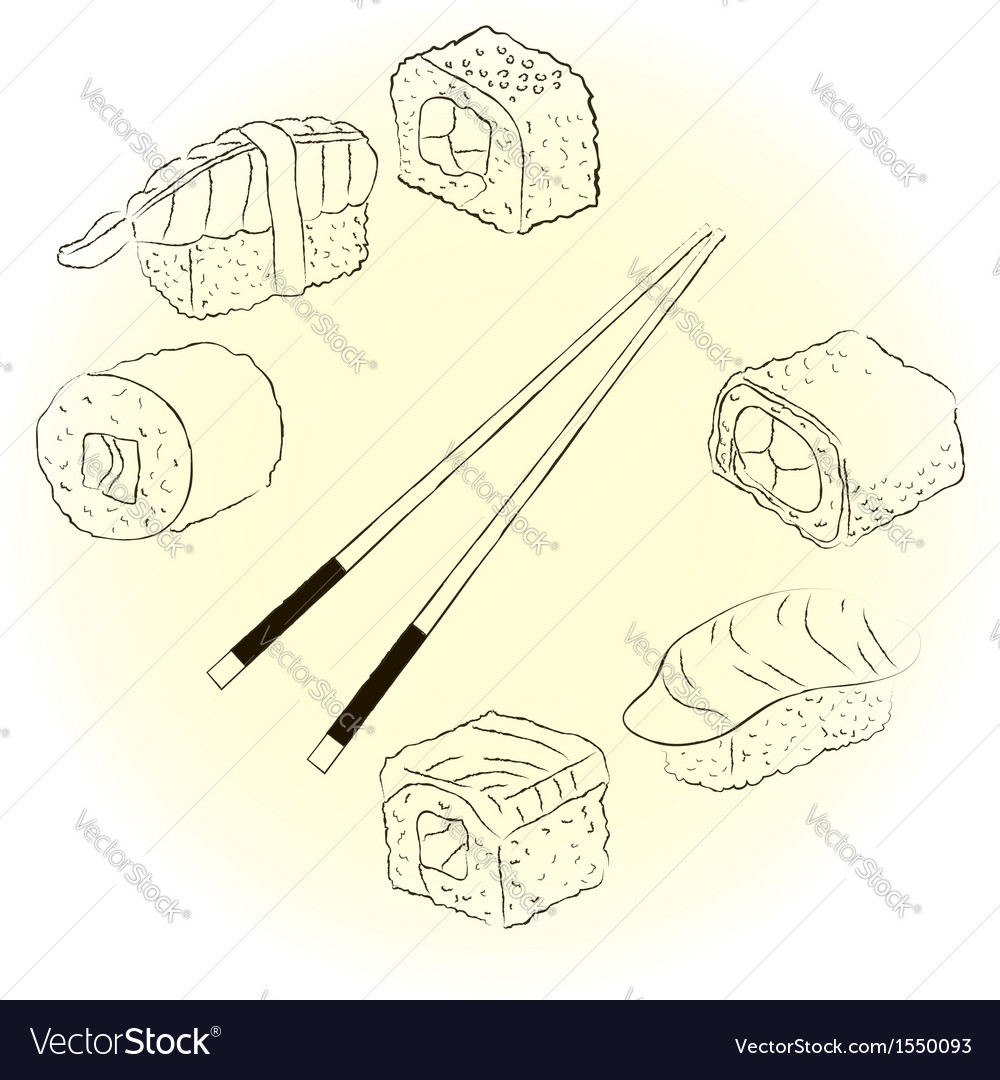 Sketchy sushi set vector | Price: 1 Credit (USD $1)