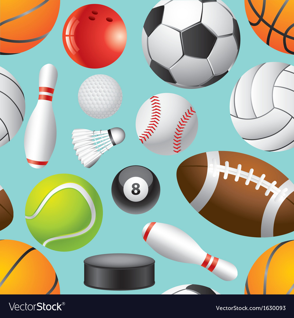 Sport balls background seamless vector | Price: 1 Credit (USD $1)