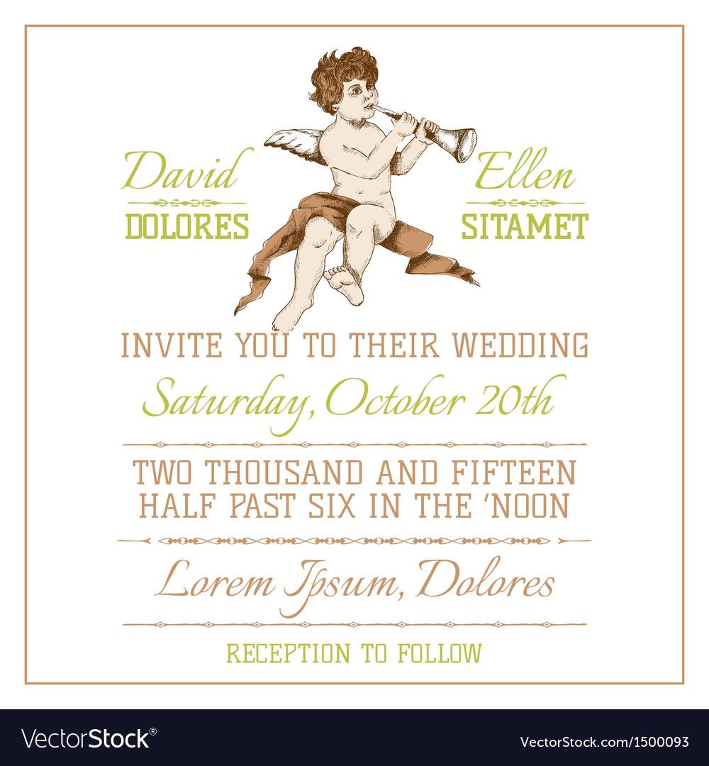 Wedding vintage invitation card vector | Price: 3 Credit (USD $3)