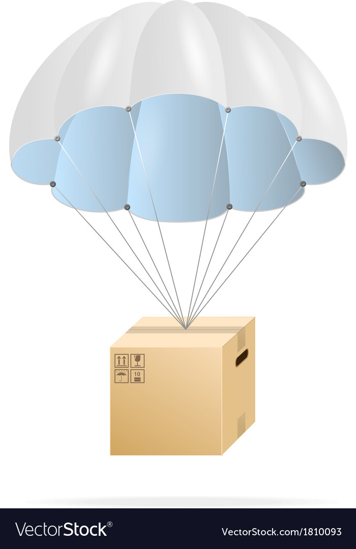 White parachute with cardboard box vector | Price: 1 Credit (USD $1)