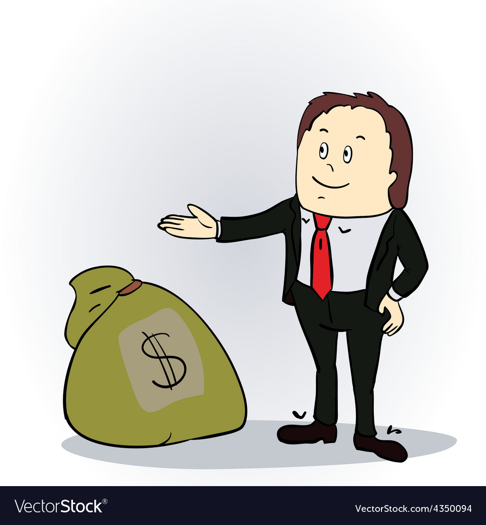 Business man with sack of money vector | Price: 1 Credit (USD $1)