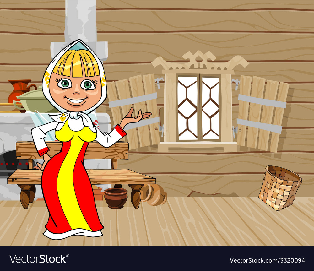 Cartoon girl in russian national dress in a house vector | Price: 1 Credit (USD $1)