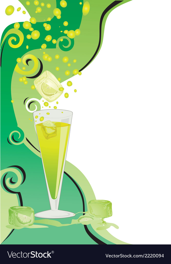 Drink card with ice and limes vector | Price: 1 Credit (USD $1)