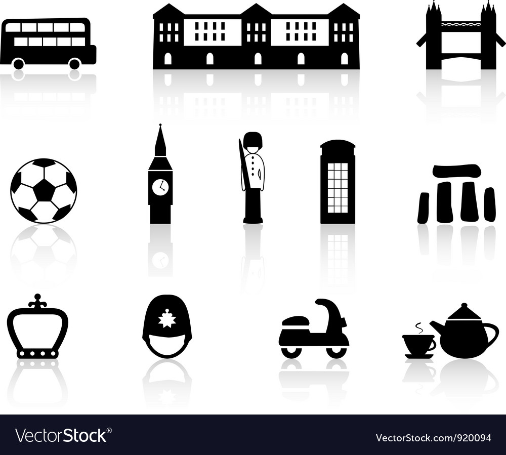 English culture icons vector | Price: 1 Credit (USD $1)
