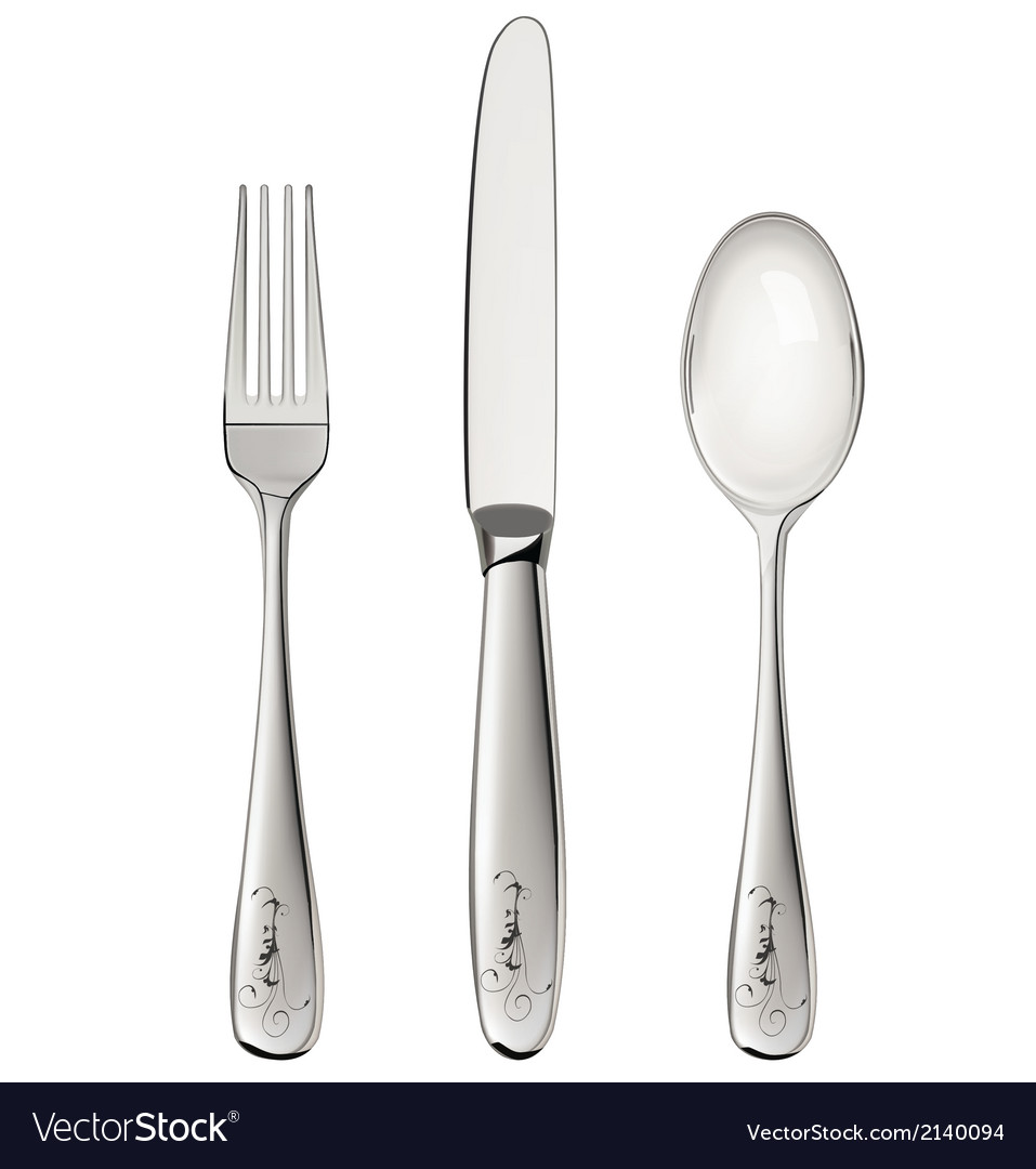 Fork spoon and knife isolated on white vector | Price: 1 Credit (USD $1)