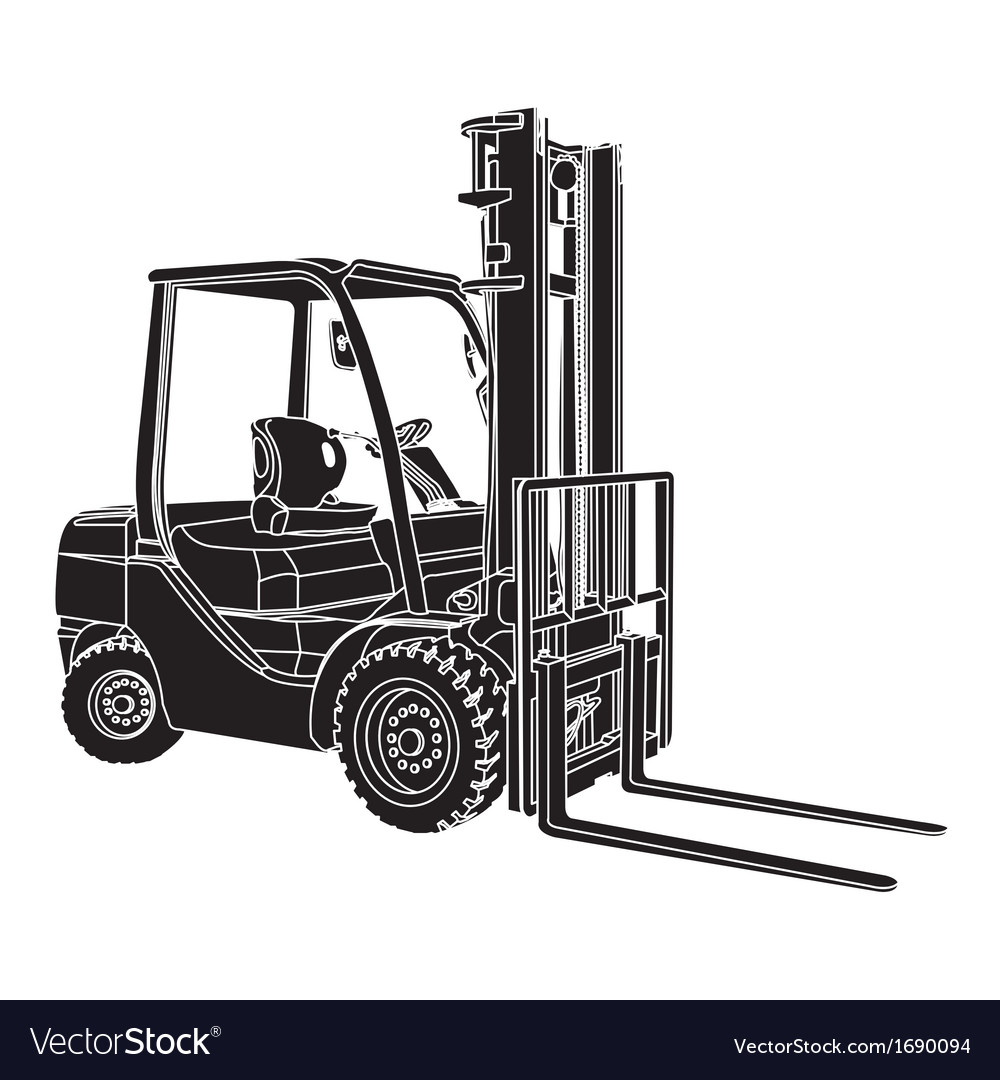 Forklift silhouette vector | Price: 1 Credit (USD $1)