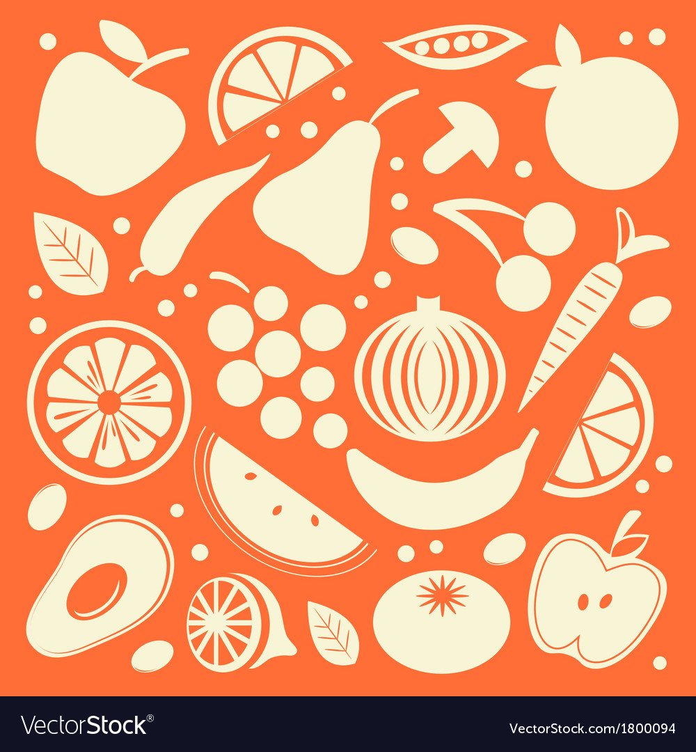 Fruit and vegetables set vector | Price: 1 Credit (USD $1)
