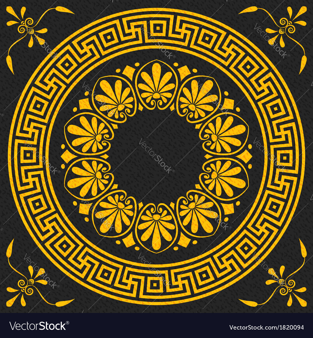 Golden square and round greek ornament meander vector | Price: 1 Credit (USD $1)