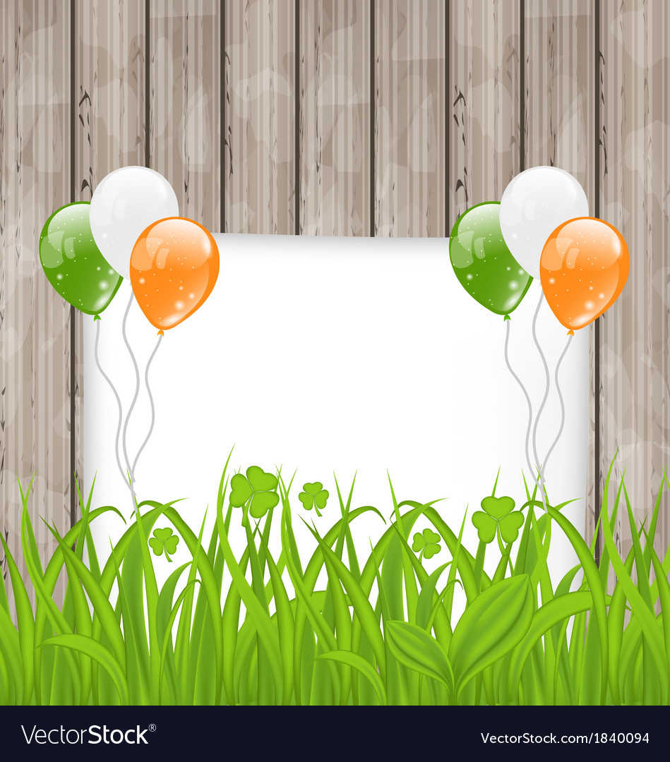 Greeting card with grass and balloons in irish vector | Price: 1 Credit (USD $1)