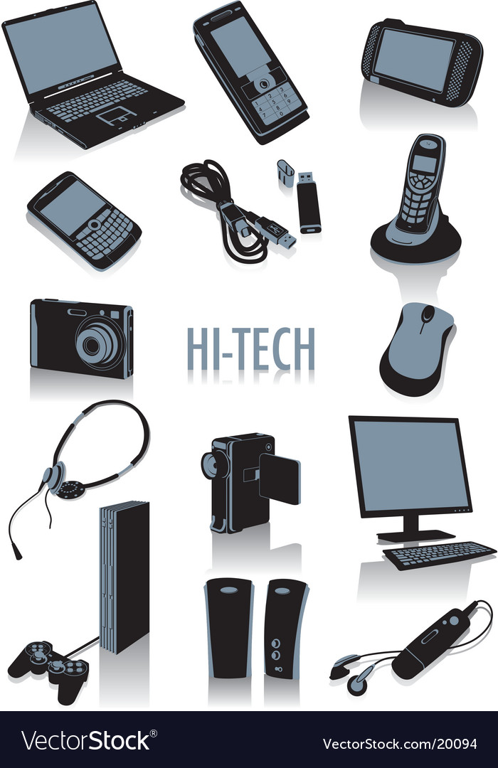 High tech silhouettes vector