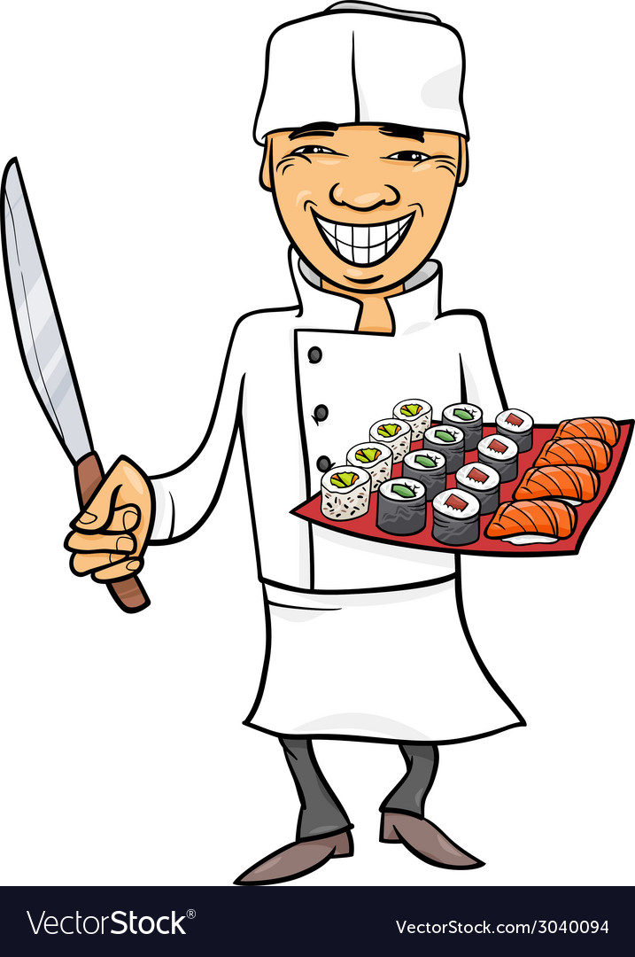Japan sushi chef cartoon vector | Price: 1 Credit (USD $1)