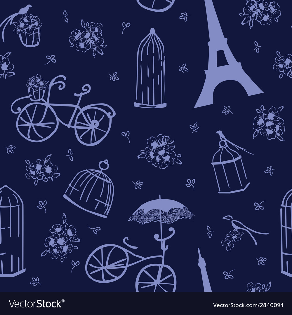 Seamless pattern flowers and birds vector | Price: 1 Credit (USD $1)