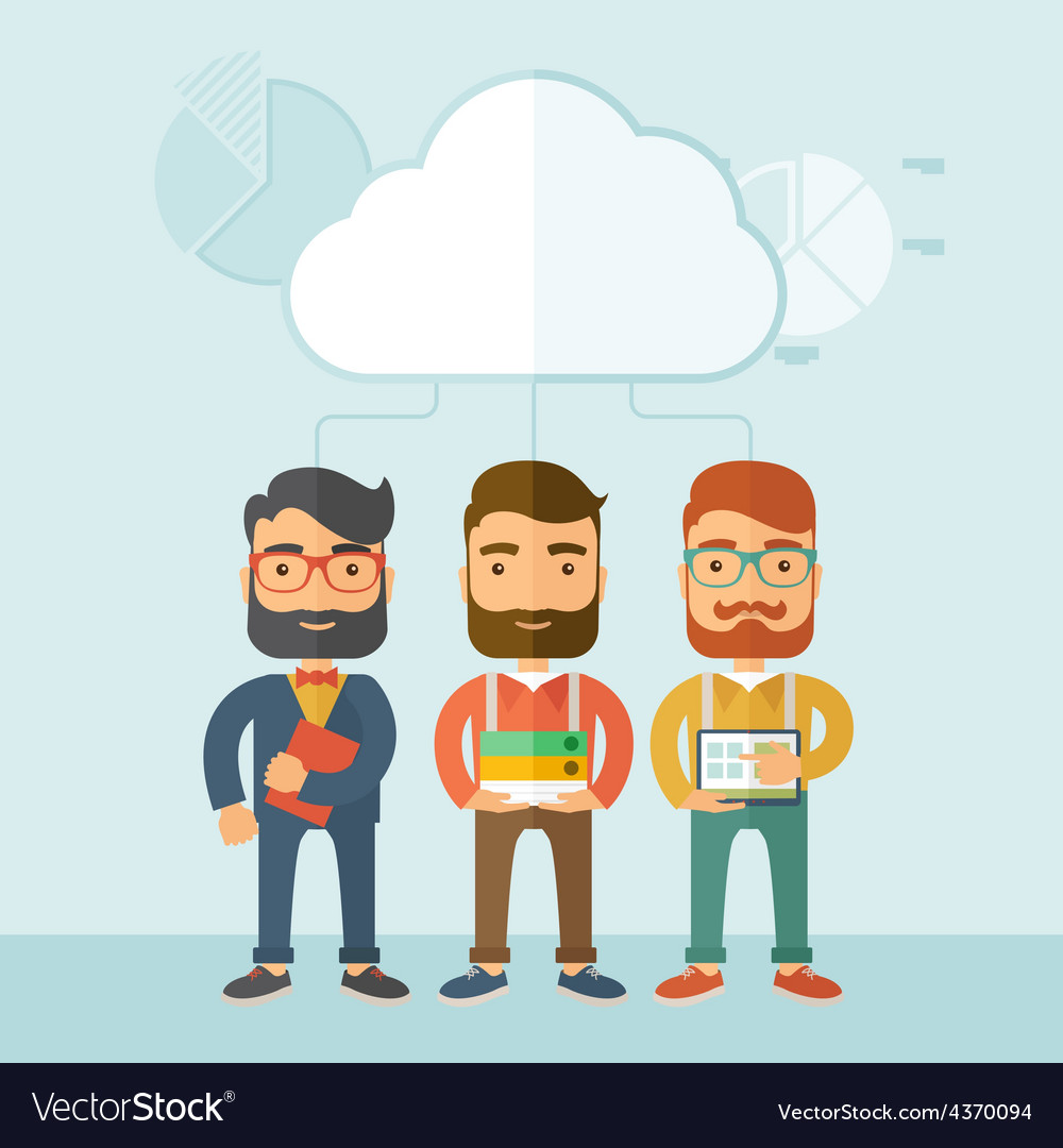 Three managers working together vector | Price: 1 Credit (USD $1)
