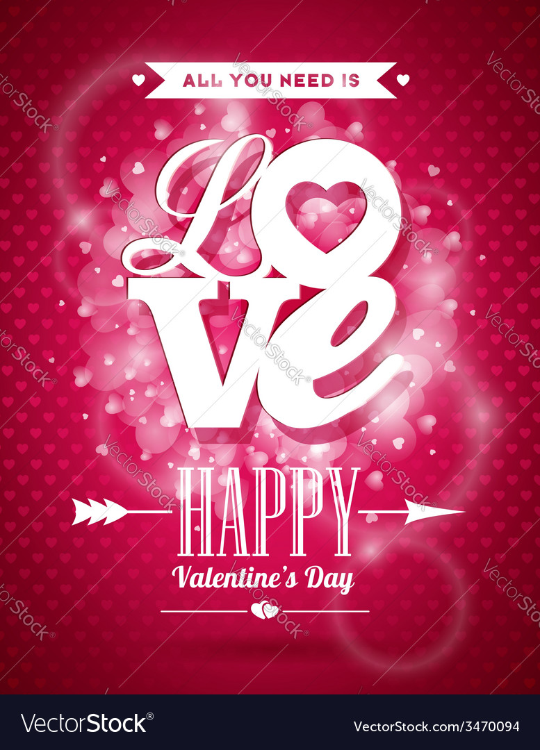 Valentines day with love typography vector