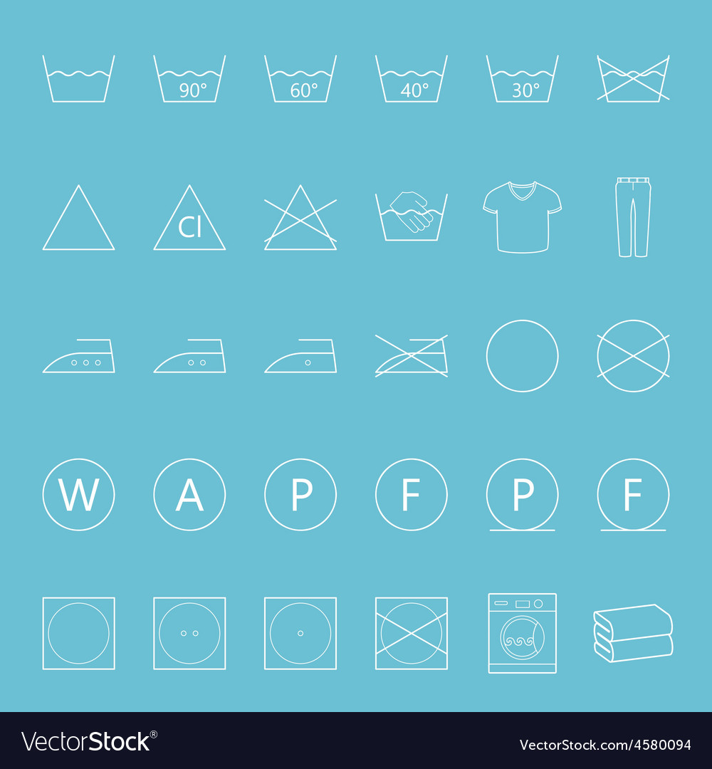 Washing and ironing clothes thin lines icon set vector | Price: 1 Credit (USD $1)