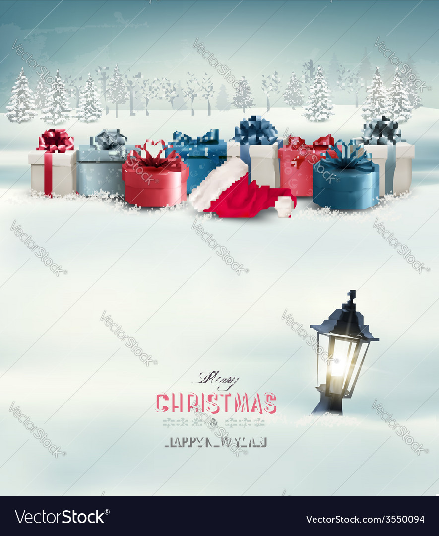 Winter christmas background with presents and a vector | Price: 3 Credit (USD $3)