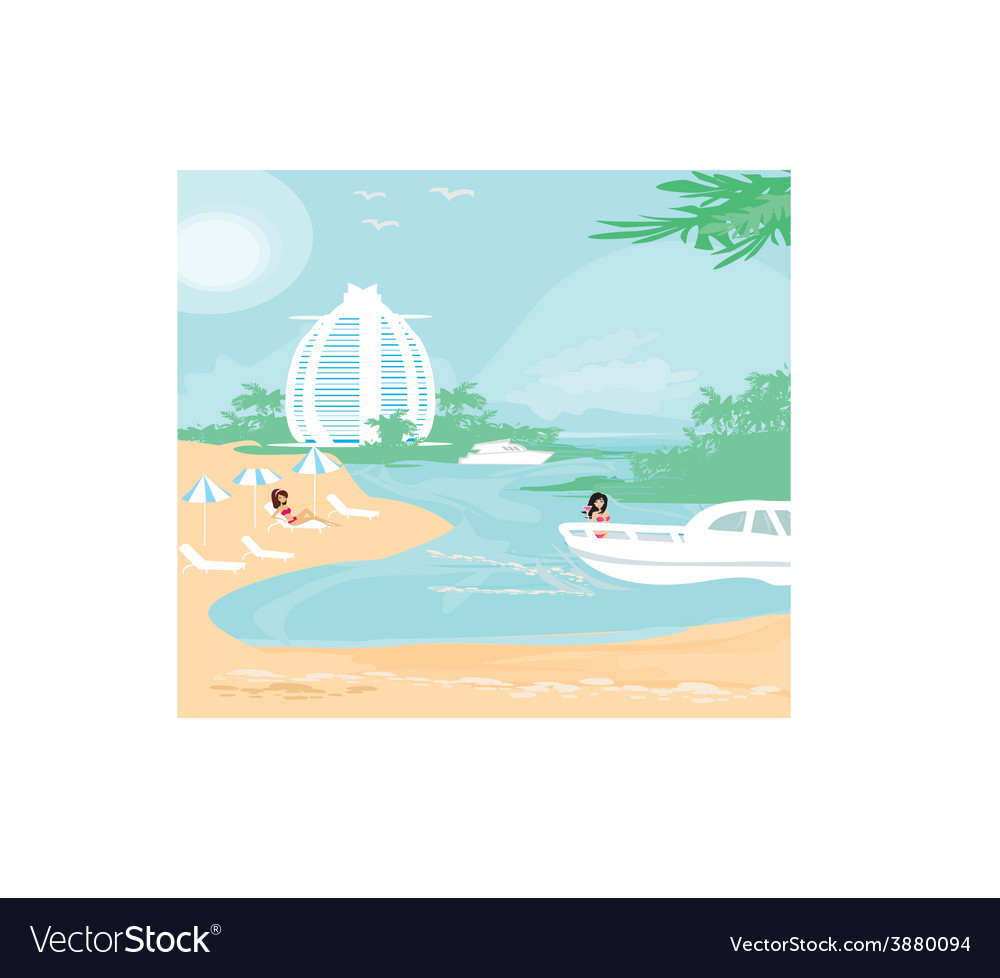 Woman relaxes in the tropics vector | Price: 1 Credit (USD $1)