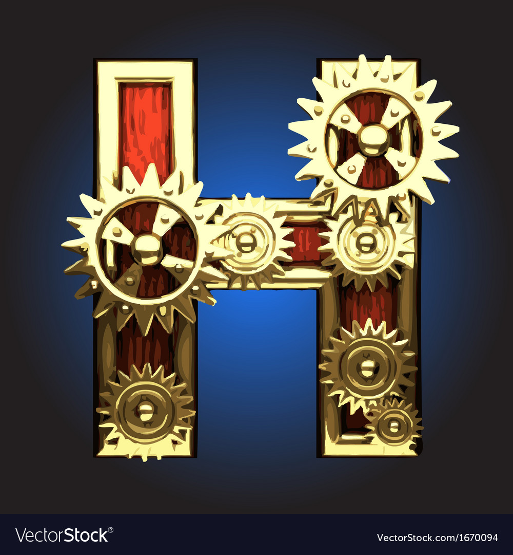 Wooden figure with gears vector | Price: 1 Credit (USD $1)