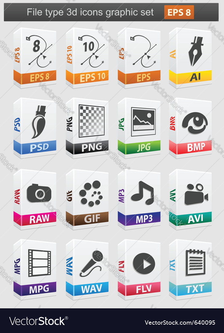 File type 3d icons set vector | Price: 3 Credit (USD $3)