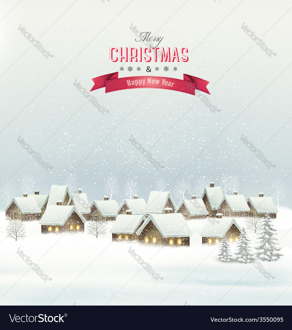Holiday christmas background with a village vector | Price: 3 Credit (USD $3)