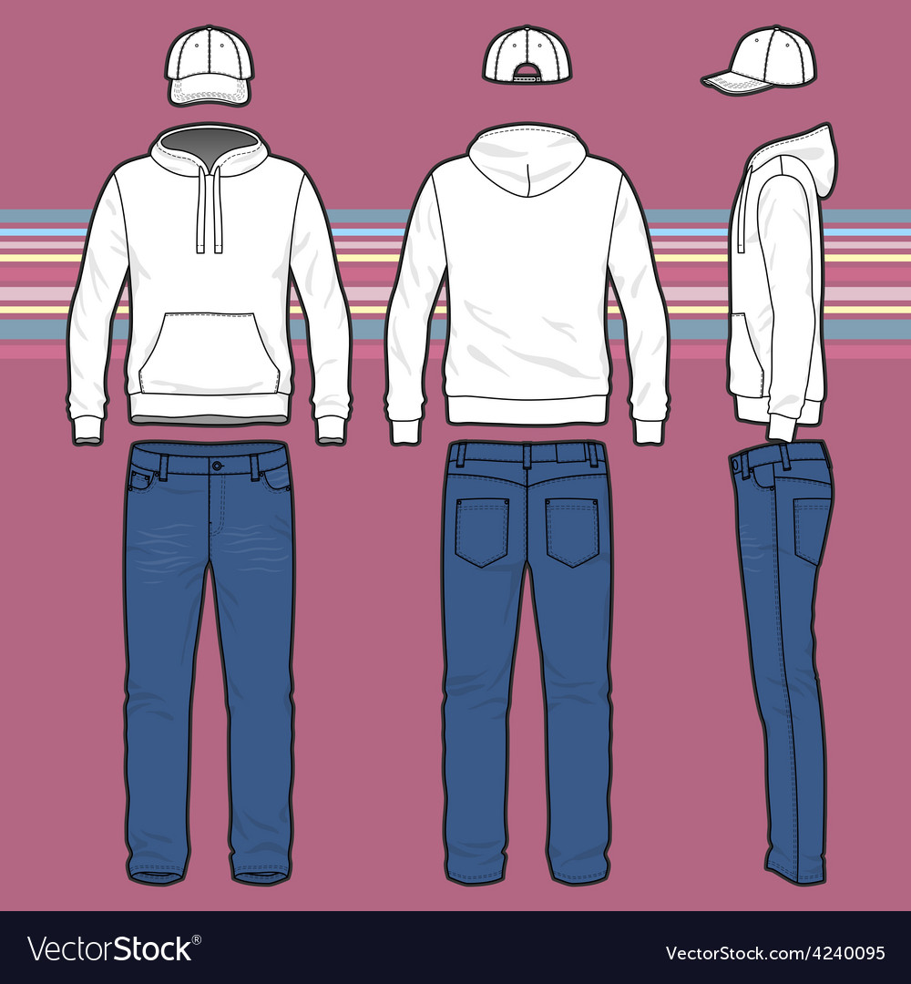 Hoodie cap and jeans set vector | Price: 1 Credit (USD $1)