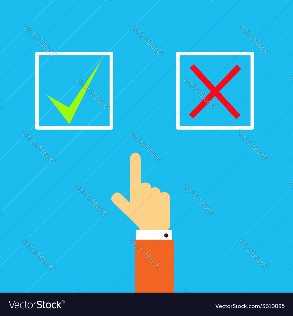 Mans hand before choosing yes or no vector | Price: 1 Credit (USD $1)