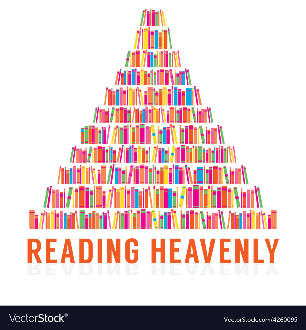 Reading heavenly colorful books stacks vector | Price: 1 Credit (USD $1)