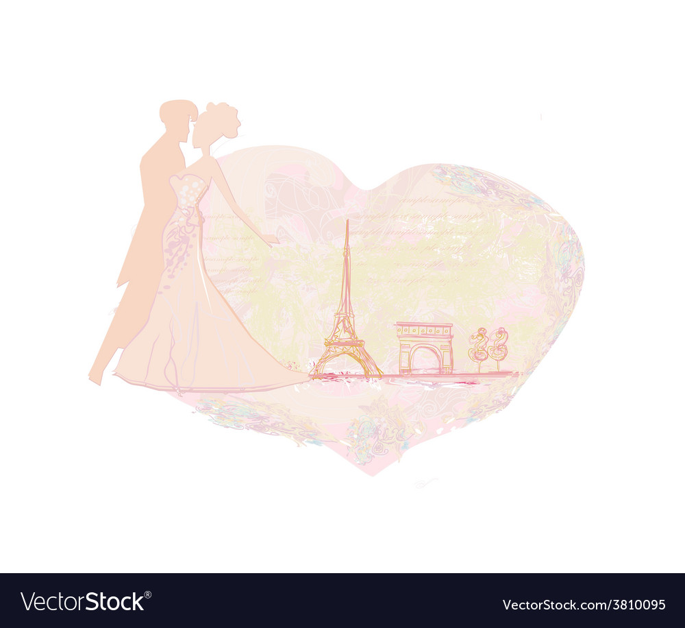 Romantic wedding dancer couple in paris near the vector | Price: 1 Credit (USD $1)
