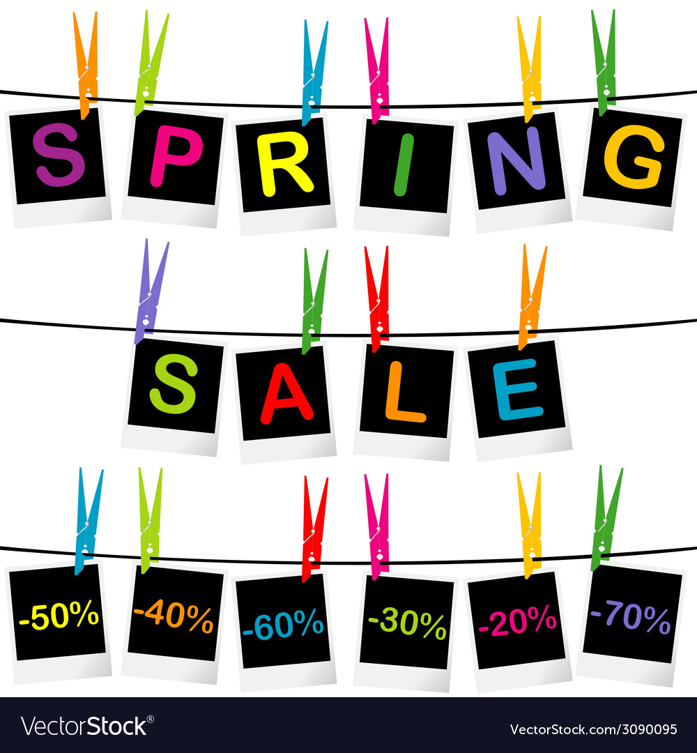Spring sale concept with photo frames hanging on vector | Price: 1 Credit (USD $1)