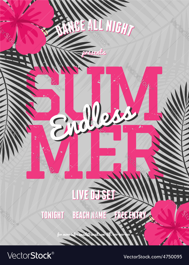 Summer party palm leaves neon pink text flyer vector | Price: 1 Credit (USD $1)
