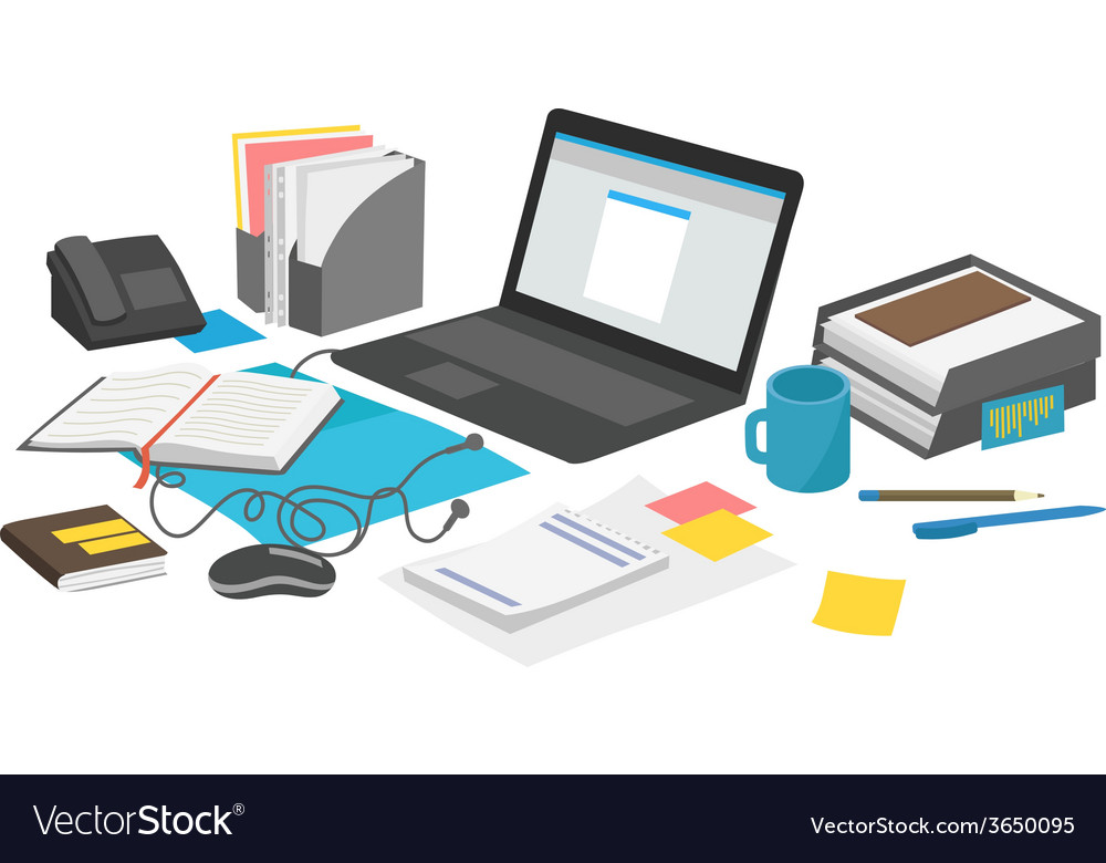 Work desk with laptop and paperwork notebook vector | Price: 1 Credit (USD $1)