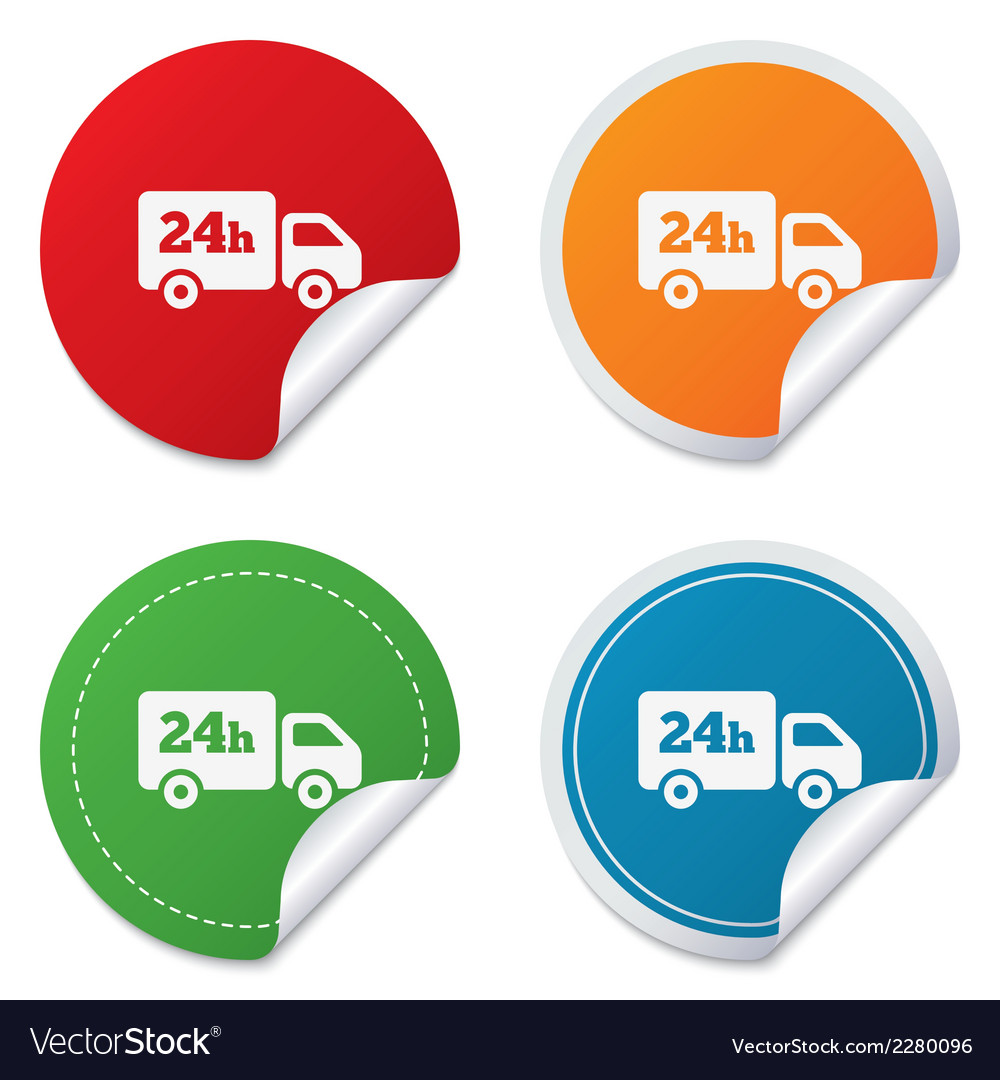 24 hours delivery service cargo truck symbol vector | Price: 1 Credit (USD $1)