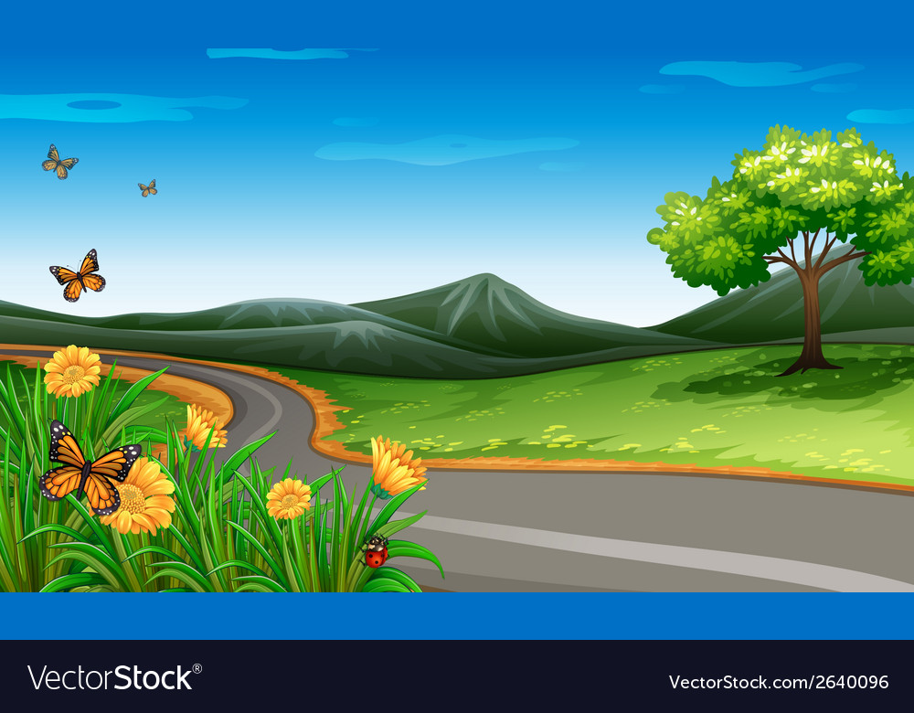 A narrow road under the clear blue sky vector