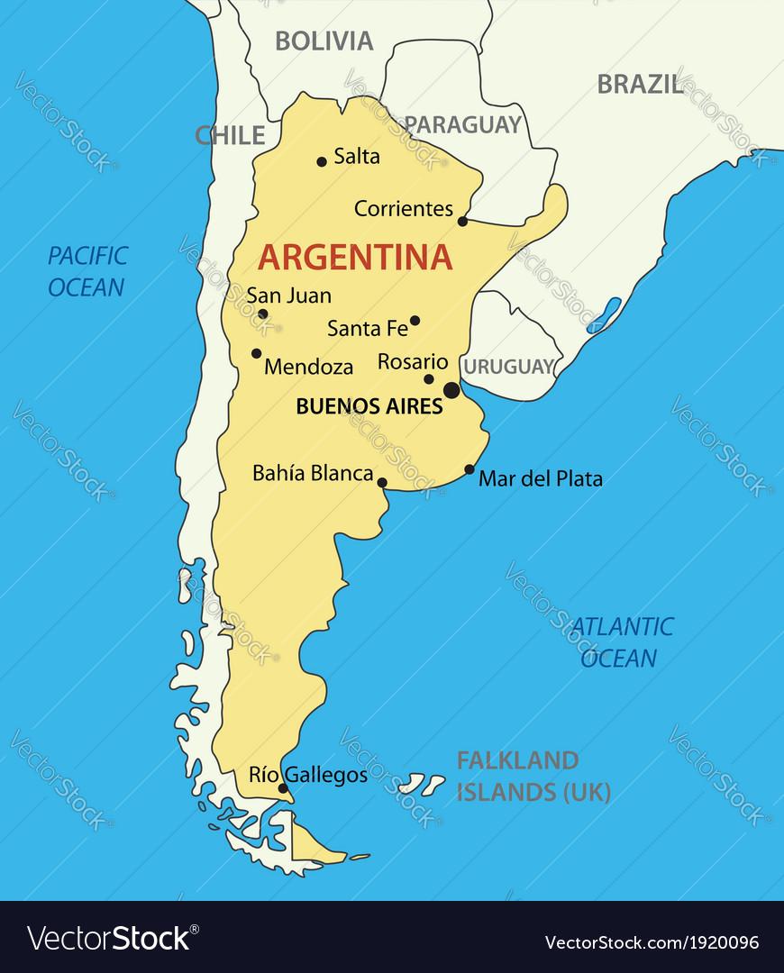 Argentine republic argentina - map vector | Price: 1 Credit (USD $1)