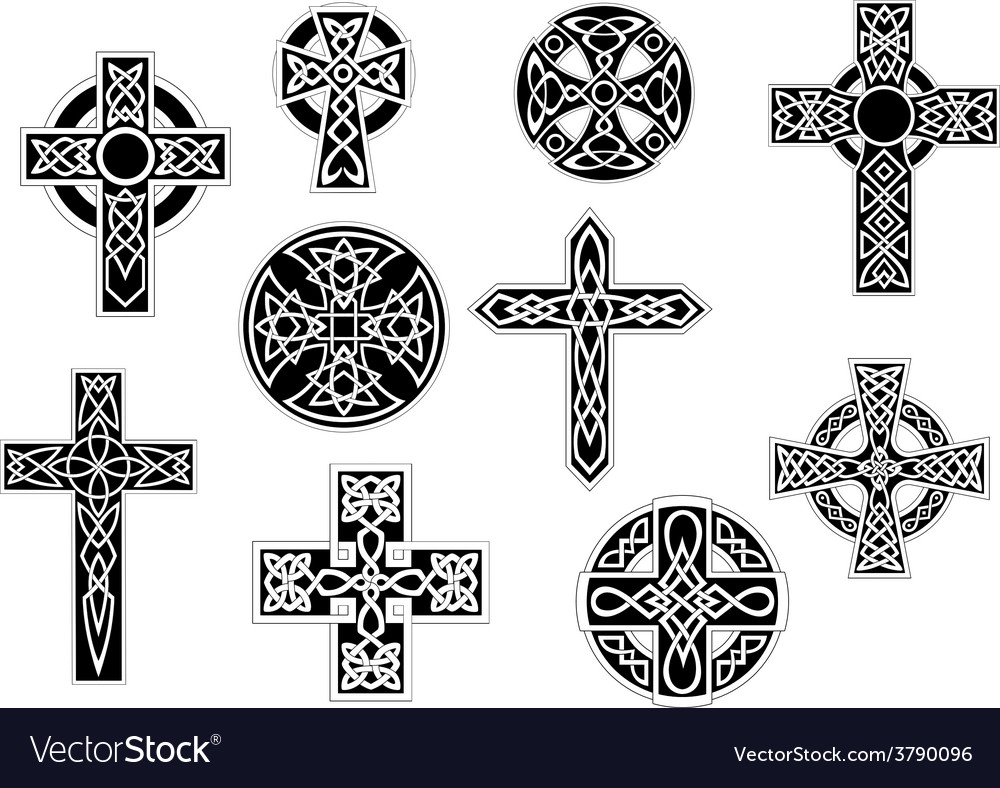 Black and white decorative christian crosses vector | Price: 1 Credit (USD $1)