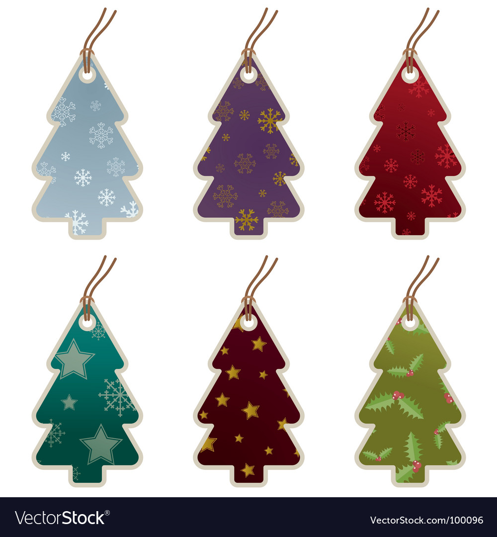 Christmas tree tags vector | Price: 1 Credit (USD $1)