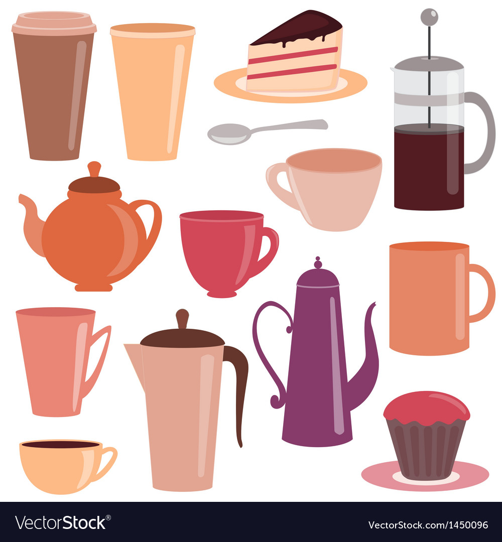 Collection of tea and coffee items vector | Price: 1 Credit (USD $1)