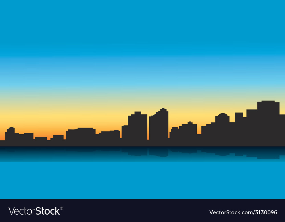 Contour of the big city on a blue background vector | Price: 1 Credit (USD $1)