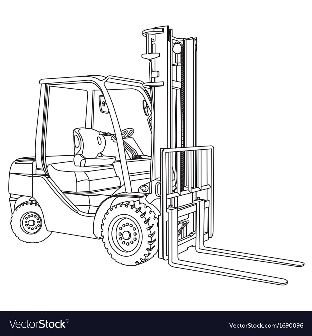Forklift outline vector | Price: 1 Credit (USD $1)