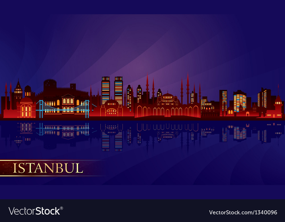 Istanbul city night skyline vector | Price: 1 Credit (USD $1)