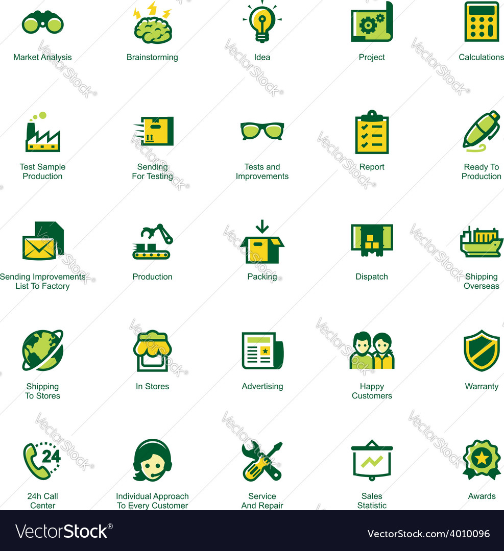 Manufacturing and distribution icon set vector | Price: 1 Credit (USD $1)