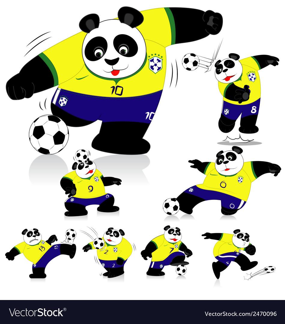 Panda soccer brasil all action vector | Price: 1 Credit (USD $1)