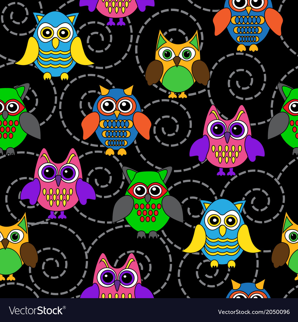 Seamless background with curls and cartoon owls vector | Price: 1 Credit (USD $1)
