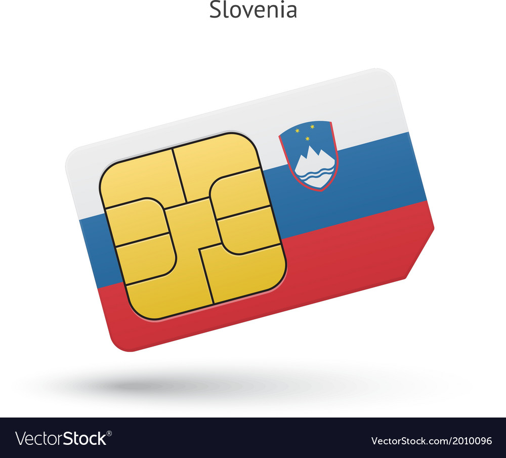 Slovenia mobile phone sim card with flag vector | Price: 1 Credit (USD $1)