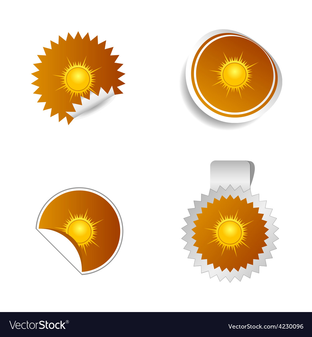 Sticker weather forecast sun vector | Price: 1 Credit (USD $1)